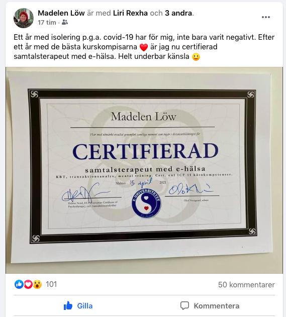 Madelen Löw berättar på Facebook och utbildningen till samtalsterapeut.